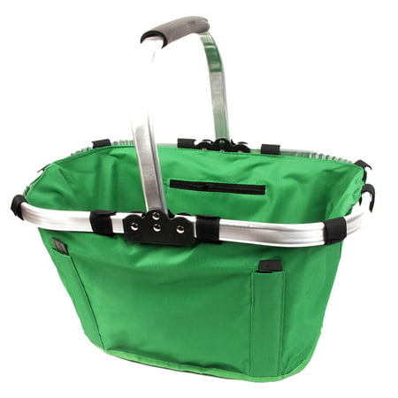Alloy Frame Green Foldable Eco Tote Bag Picnic Grocery Shopping Basket w Handle