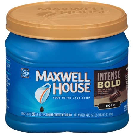 Maxwell House Intense Bold Dark Roast Ground Coffee, Caffeinated, 26.7 oz Can