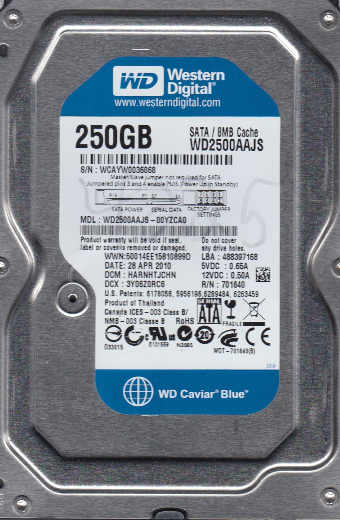WD2500AAJS-00YZCA0, DCM HARNHTJCHN, Western Digital 250GB SATA 3.5 Hard Drive by Western Digital
