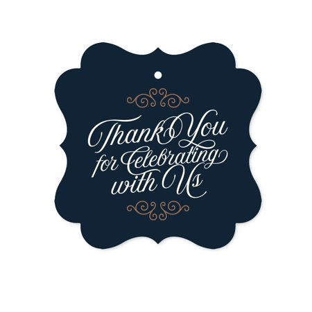 Navy Blue Art Deco Vintage Party Baby Shower,  Fancy Frame Gift Tags, Thank You for Celebrating With Us, 24-Pack (Baby Shower Party Gifts For Guests)