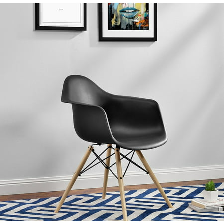 DHP Mid Century Modern Molded Arm Chair with Wood Leg - Mid Century Pottery