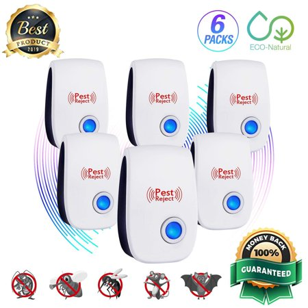 6 PK [2019 NEW UPGRADED] LIGHTSMAX - Ultrasonic Pest Repeller - Electronic Plug -In Pest Control Ultrasonic - Best Repellent for Cockroach Rodents Flies Roaches Ants Mice Spiders Fleas