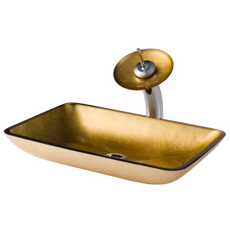 Kraus Rectangular Gold Glass Bathroom Vessel Sink And Waterfall