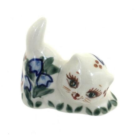 Polish Pottery Bluebell Petite Decorated Cat Figurine