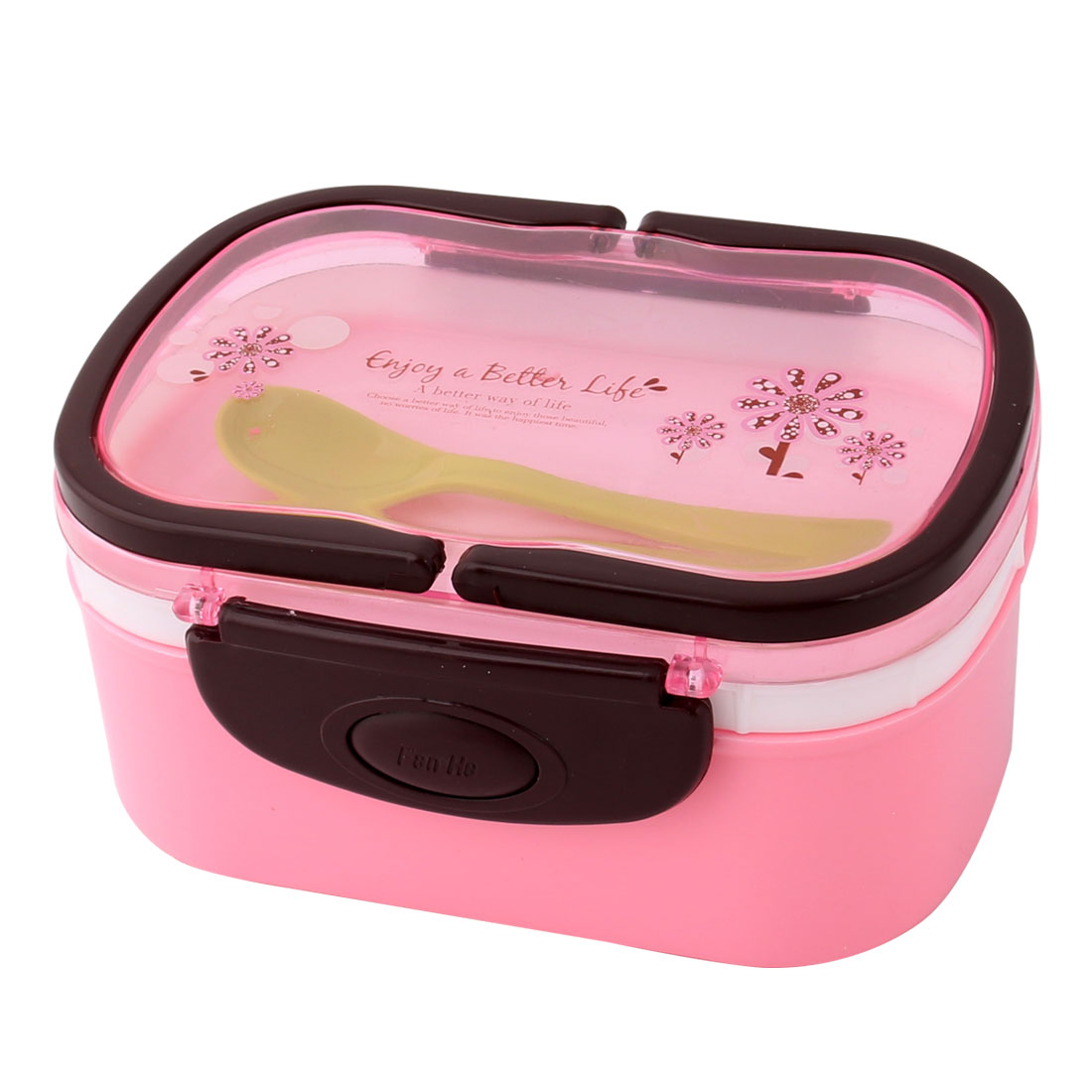 Household Outdoor Plastic Flower Pattern Handle Food Container Lunch Box Pink