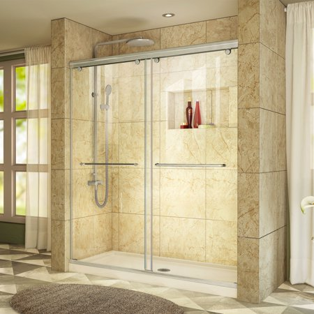 - DreamLine Charisma 30 in. D x 60 in. W x 78 3/4 in. H Frameless Bypass Shower Door in Brushed Nickel and Center Drain Biscuit Base