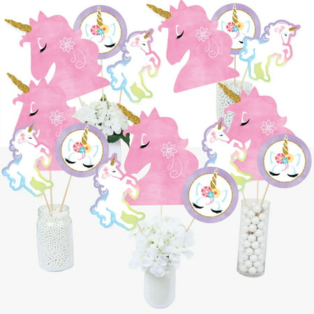 Rainbow Unicorn - Magical Unicorn Baby Shower or Birthday Party Centerpiece Sticks - Table Toppers - Set of 15](Birthday Table Centrepieces)