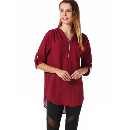 Women's Casual Chiffon V Neck Blouse Tops For Women Long Sleeve Shirts Solid Color Irregular Hem Basic Tops