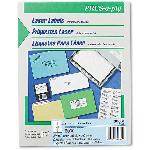 Avery Pres-A-Ply Laser Address Labels, 1 x 4, White, 2000/Box