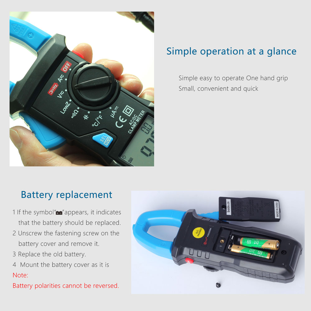 Ktaxon Bside Acm22a Auto Range Digital Clamp Multimeter Tester Meter Dc Shade Motors Can The Polarity Be Reversed With A Simple Switch Ac Current