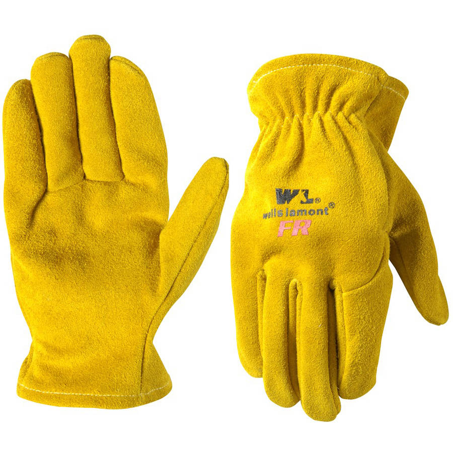 Wells Lamont Split Cowhide Leather Flame Resistant Work Gloves, Goldenrod