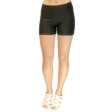 Vivian's Fashions Legging Shorts - Knit Denim, Junior Size (Black, Large)