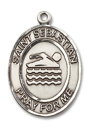 St. Sebastian   Swimming Medal in Sterling Silver by