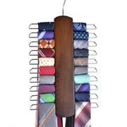 Umo Lorenzo Premium Wooden 20 Hooks Necktie and Belt Hanger, Walnut Wood Center Organizer and Storage Rack with a Non-Slip Finish