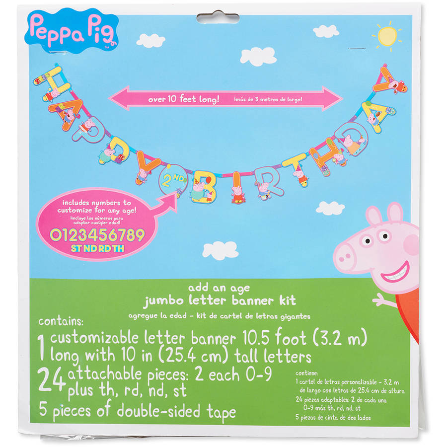 Peppa Pig Add-an-Age Birthday Party Banner, Party Supplies