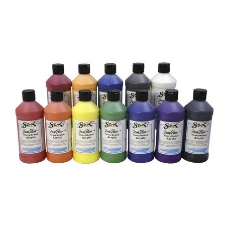 Sax True Flow Heavy Body Acrylic Paint, Assorted Colors, Pints,  Set of 12 (Acrylic Paint Colors)
