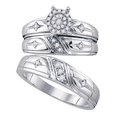 - 10kt White Gold His & Hers Round Diamond Cross Cluster Matching Bridal Wedding Ring Set 1/3 Cttw
