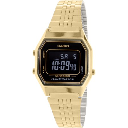 - Men's LA680WGA-1B Gold Metal Quartz Fashion Watch