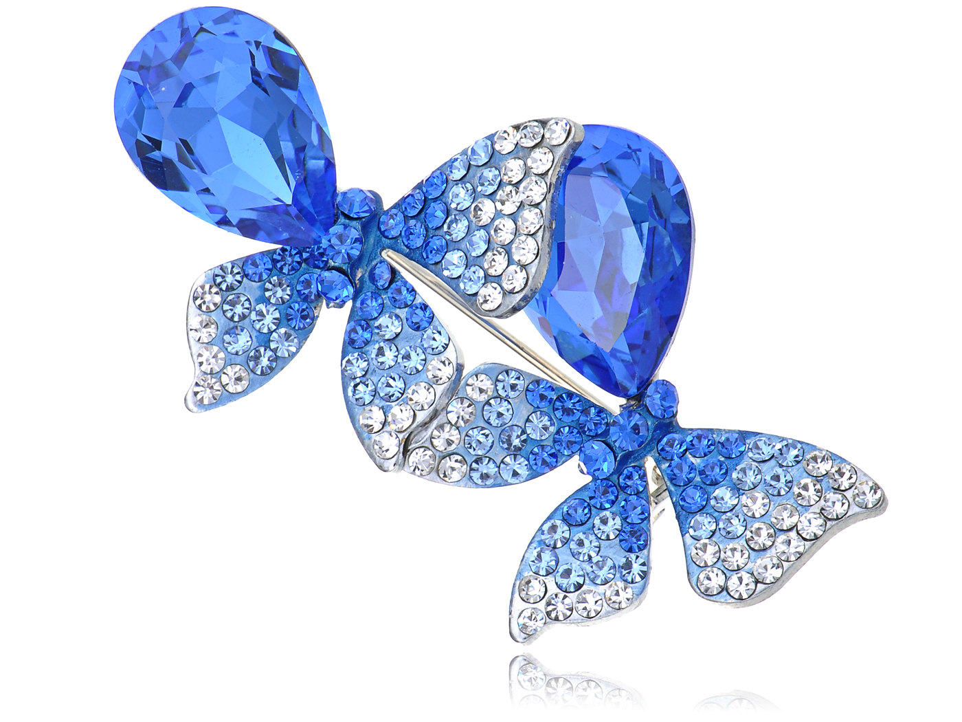 Genuine Elements Blue Sapphire Crystal Butterfly Lovers Duo Pin Brooch by