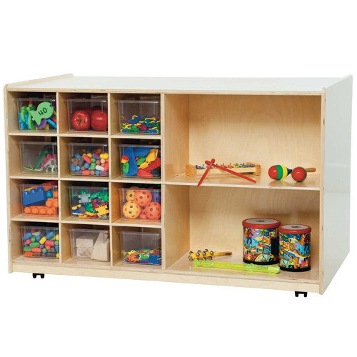 Wood Designs Double Mobile Storage Unit 14 Compartment Cubby
