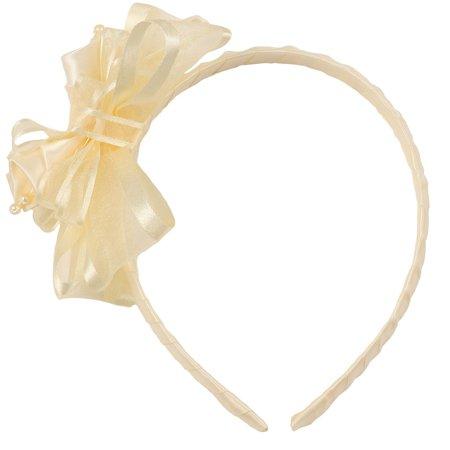 Girls Ivory Elegant Satin Organza Ribbon Floral Elegant Headband Organza Baby Headband