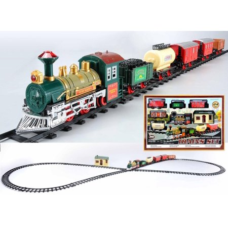 24-Piece Battery Operated Lighted & Animated Continental Express Train Set with Sound