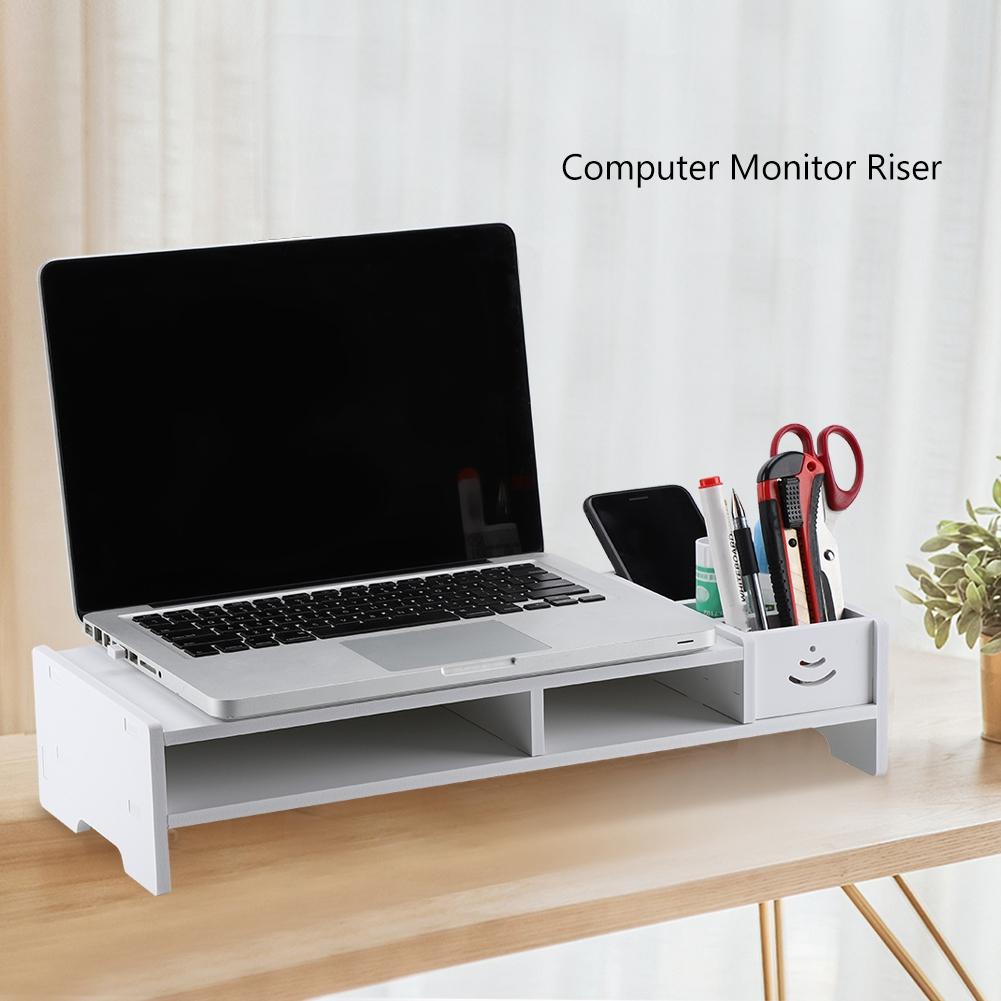 HURRISE Computer Monitor Riser,Computer Monitor Riser Laptop PC Stand Home Office Desktop Table Storage Organizer Shelf, Computer Stand Storage