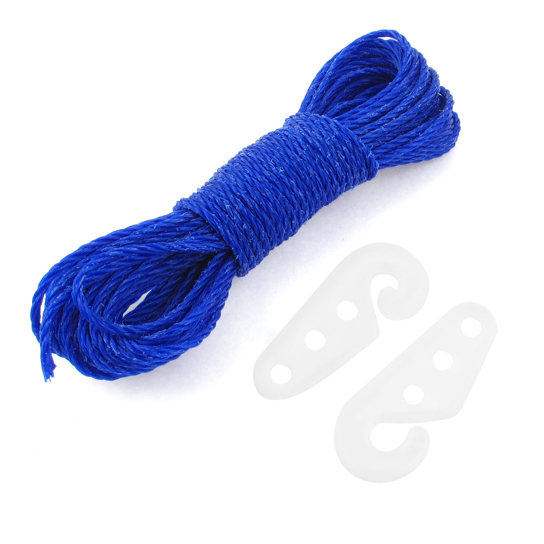 Blue Nylon Hanging Hanger Dual Hooks Clothes Rope String Washing Line 10M 33ft