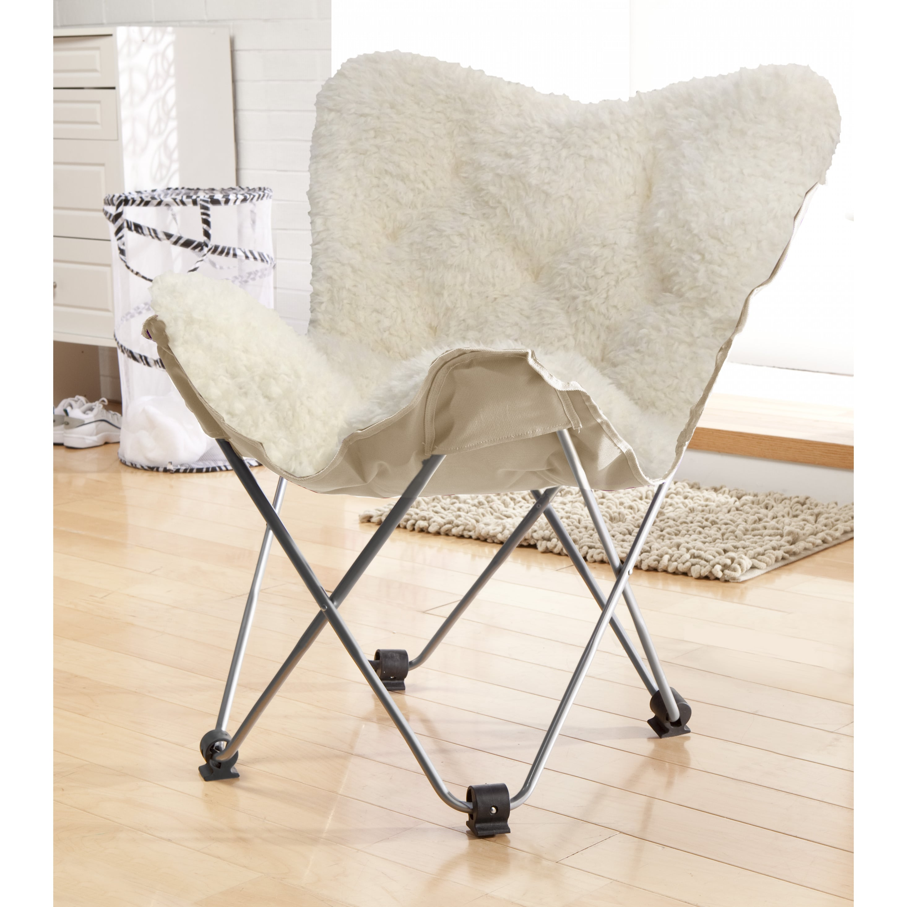 Luxe Faux Fur Butterfly Chair, White