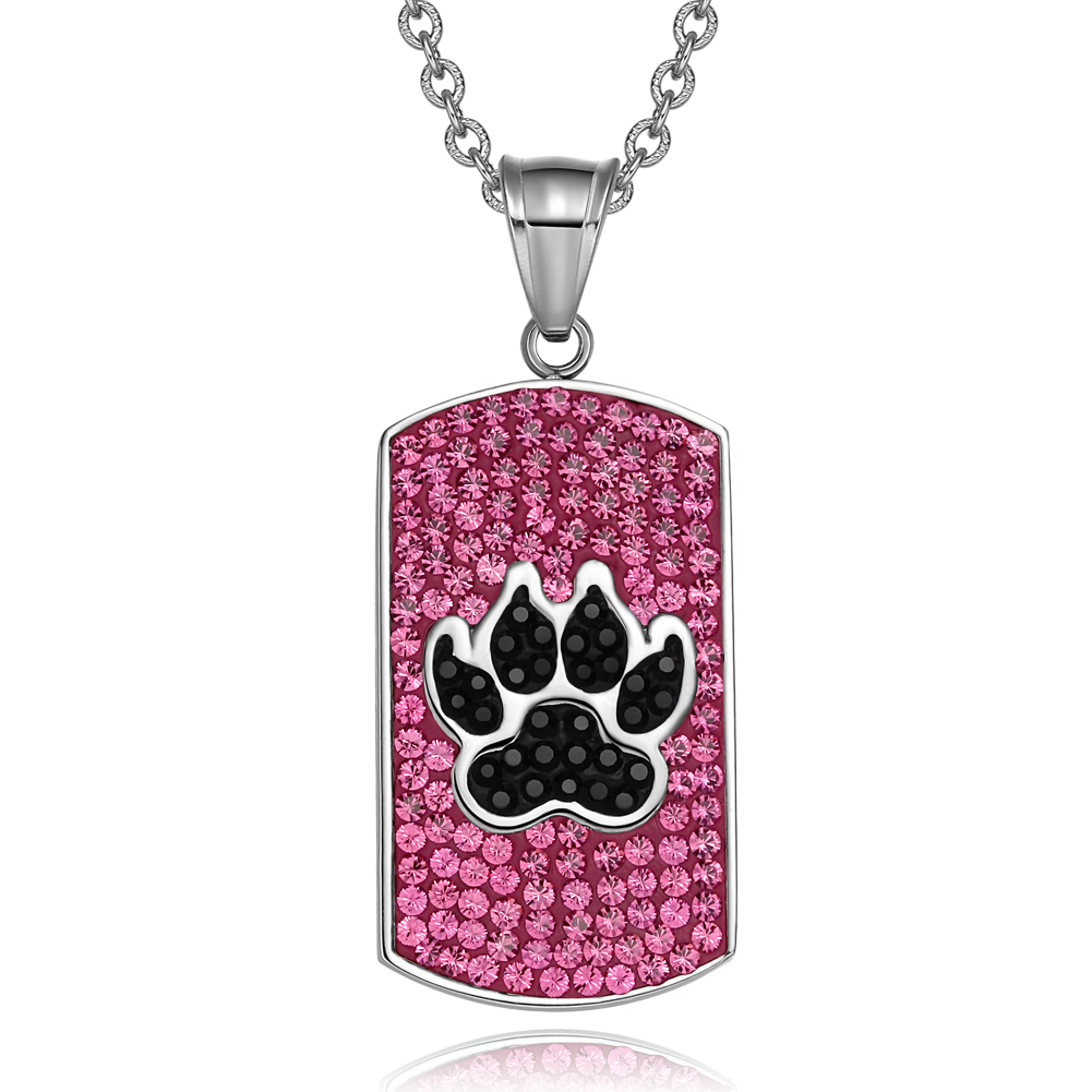 Wolf Paw Austrian Crystals Amulet Protection Powers Fuscia Pink  Black Tag Pendant 22 Inch Necklace
