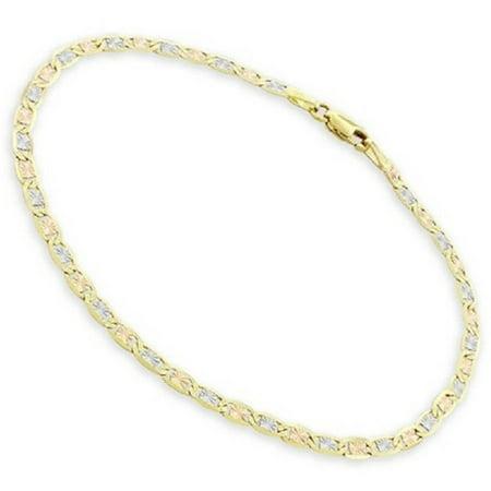14kt Tri-Color Gold Diamond-Cut Valentino Style Bracelet