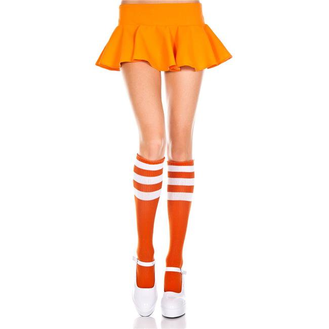 bcb1d5e0974 Music Legs 5726-WHITE-RED Acrylic Knee High Socks with Striped Top  44   White   Red