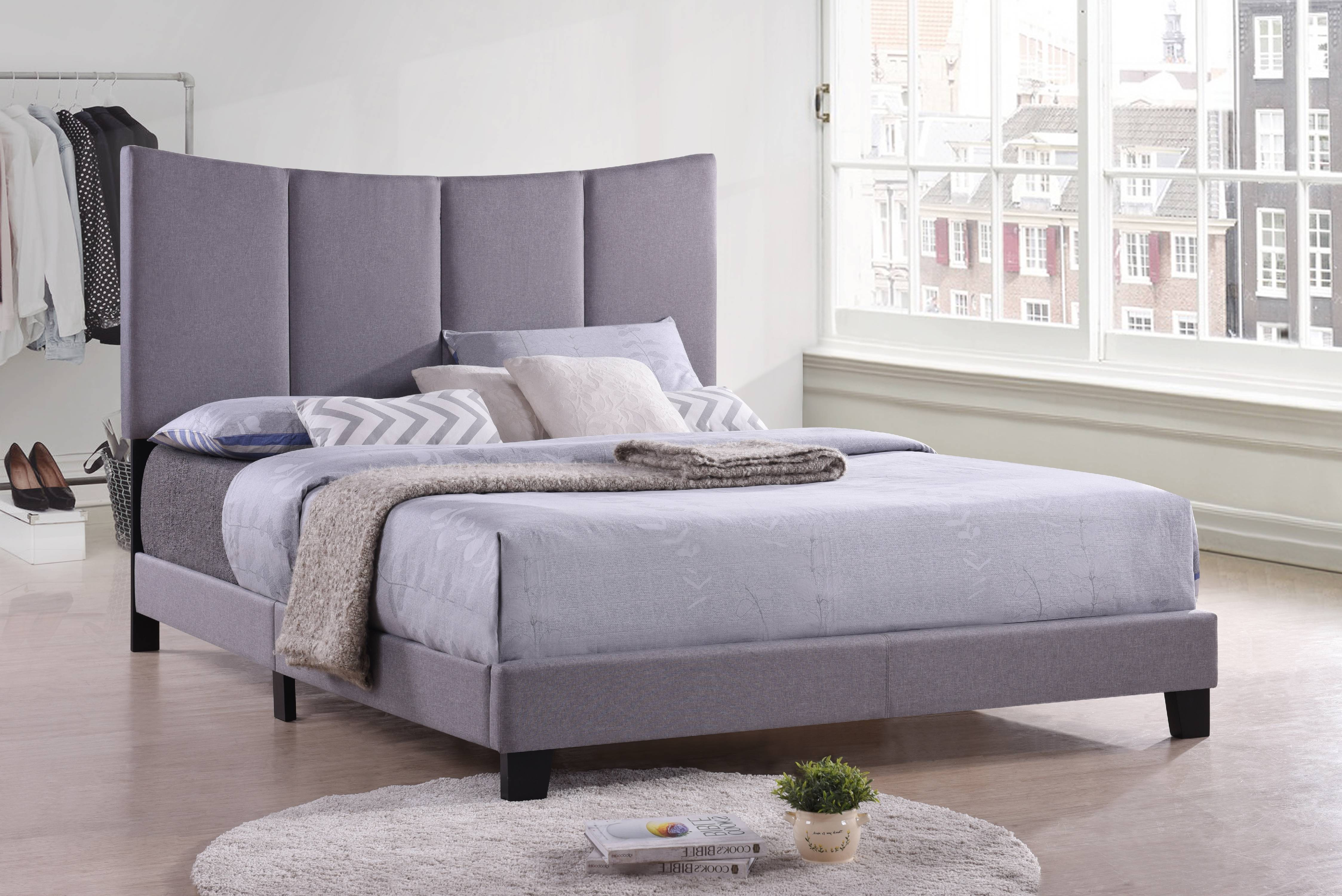 Selah Full Size Smoke Gray Polyester Transitional Upholstered Panel Bed With Solid Wood Legs (Headboard, Footboard,... by Pilaster Designs