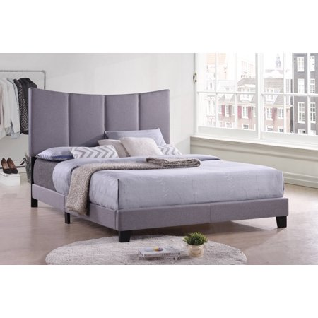 Selah Upholstered Panel Bed, Gray Polyester, Full, With Solid Wood Legs, Headboard, Footboard, Rails, Slats (Panel Pilaster)