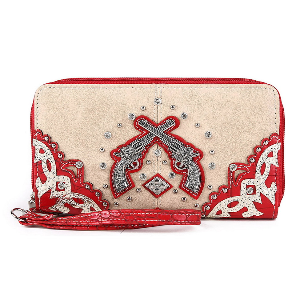 Blancho Bedding Womens [Western] PU Leather Wristlet Wallet Zipper Purse Card Holder Red
