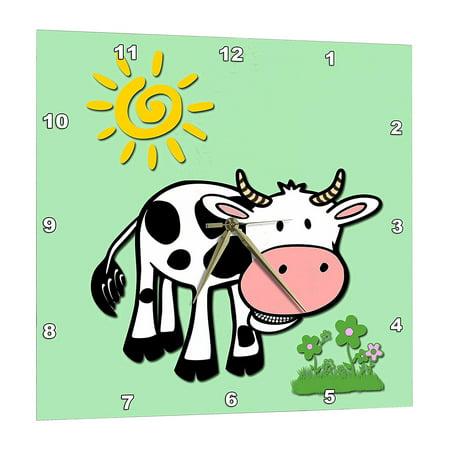 3dRose Cute cow. Light lime. Kids decor. Popular print. Best seller., Wall Clock, 15 by