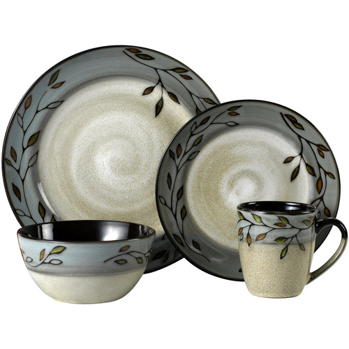 Pfaltzgraff Studio Pastoral Leaves 16-Piece Dinnerware Set, Gray