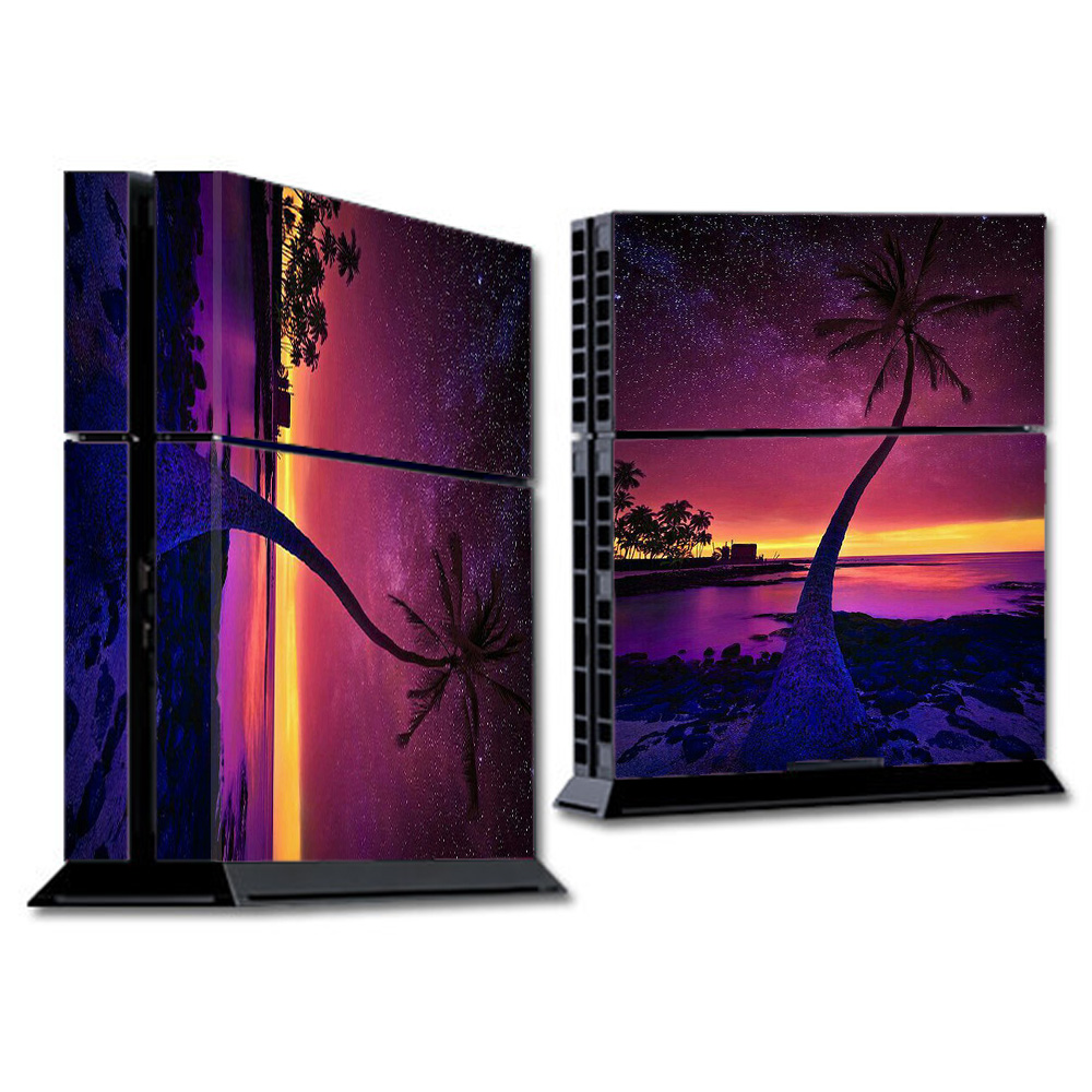 Skins Decals For Ps4 Playstation 4 Console / Palm Tree Stars And Sunset Purple