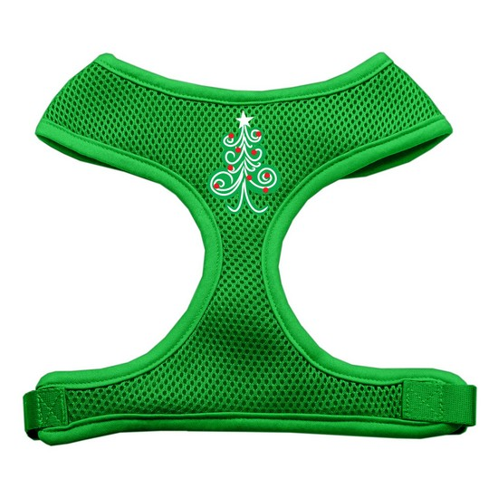 Swirly Christmas Tree Screen Print Soft Mesh Harness Emerald Green Large