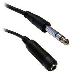 1/4 inch Stereo Extension Cable, TRS, Balanced, 1/4 inch Male to 1/4 inch Female, 10 foot