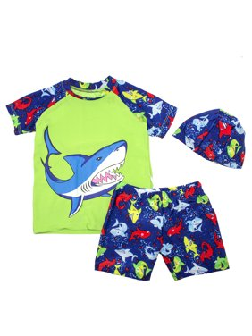 Kids Boy Cartoon Dinosaur Shark Rashguard Top & Swim Shorts with Hat 3 pcs Set (Blue Shark/Green, M/3-5 Years)