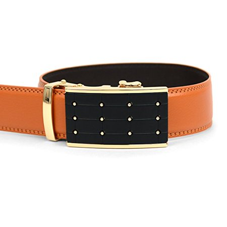 - Men's Genuine Leather Ratchet Dress Belt with Auto Lock Buckle (MGLBB4-Cognag-S)