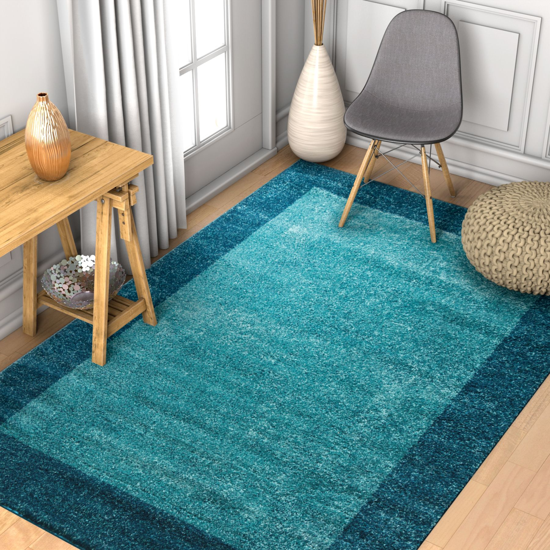 Well Woven Vettore Felize Grey Modern Solid Border Area Rug