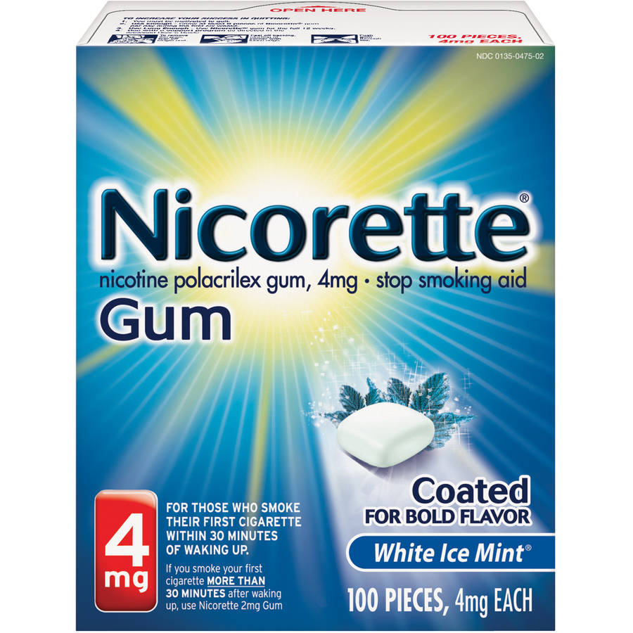 Nicorette Stop Smoking Aid Nicotine Gum, White Ice Mint Flavor, 4mg, 100 Pieces