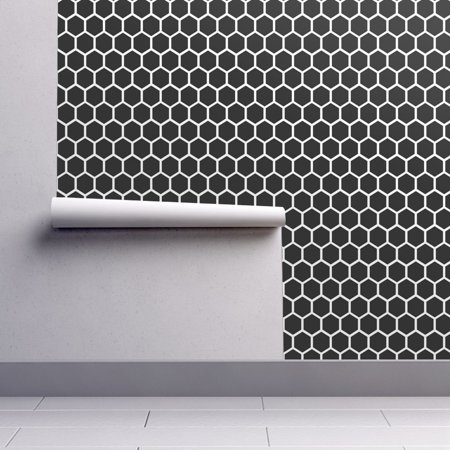 Peel And Stick Removable Wallpaper Honeycomb Geometric Black And White Neutral