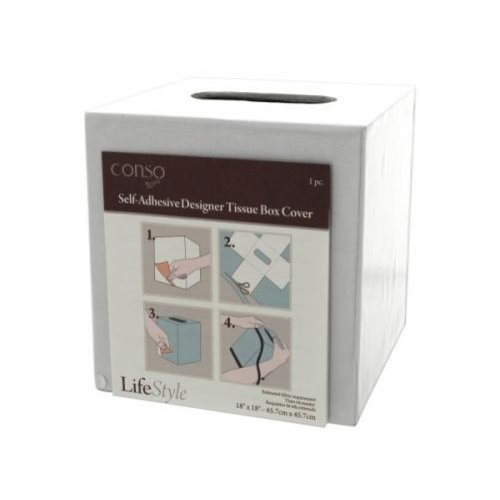 Bulk Buys WM359 Conso 18X18 Self Adhesive Designer Tissue Box Cover Case of 36