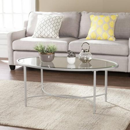 Southern Enterprises Quibilah Metal/Glass Oval Coffee Table,