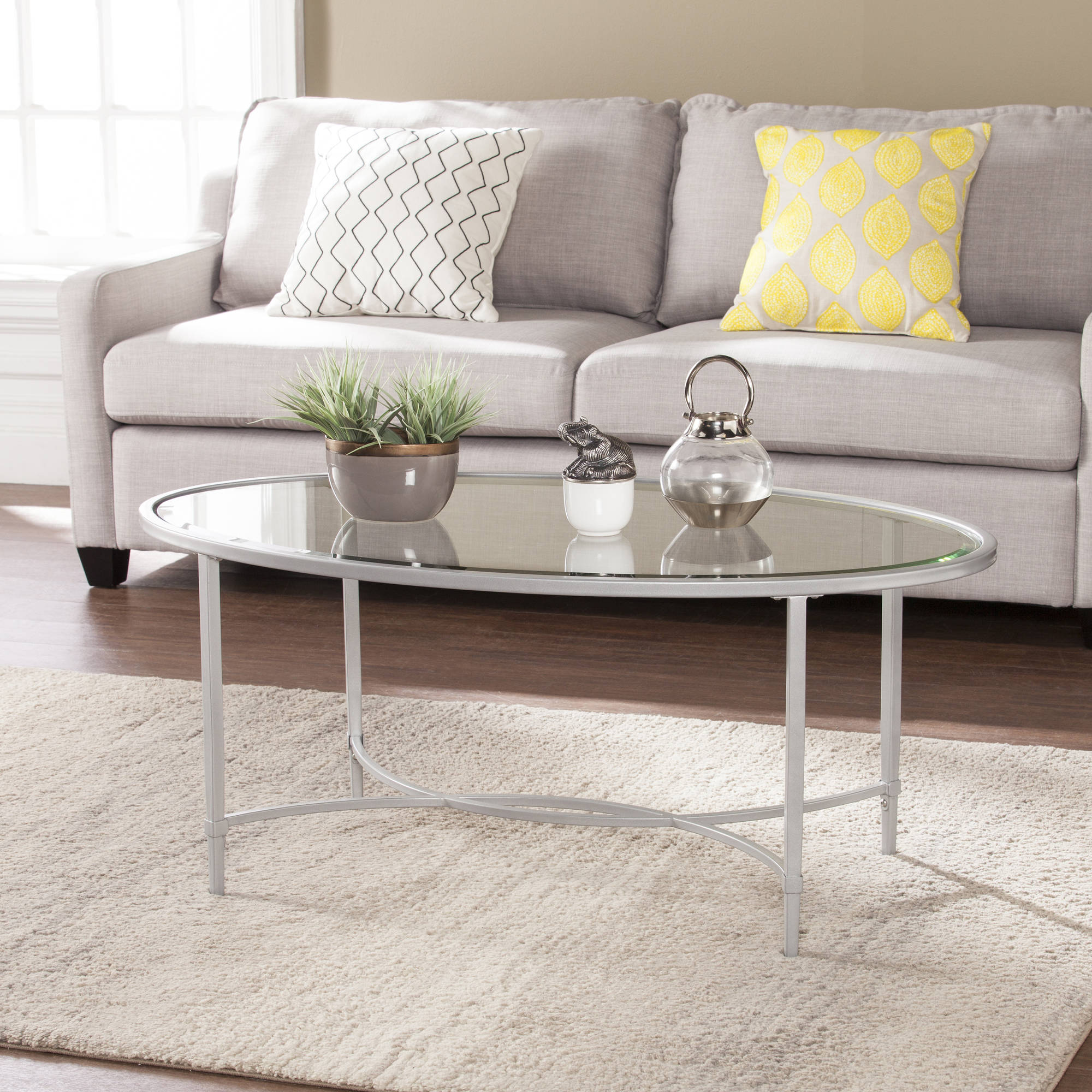 Southern Enterprises Quibilah Metal/Glass Oval Coffee Table, Silver