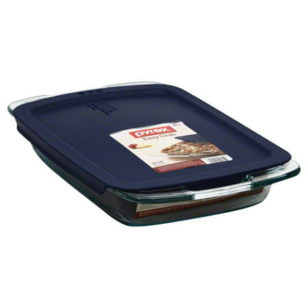 Pyrex Easy Grab 3-Quart Oblong Storage Unit with Blue Plastic Cover