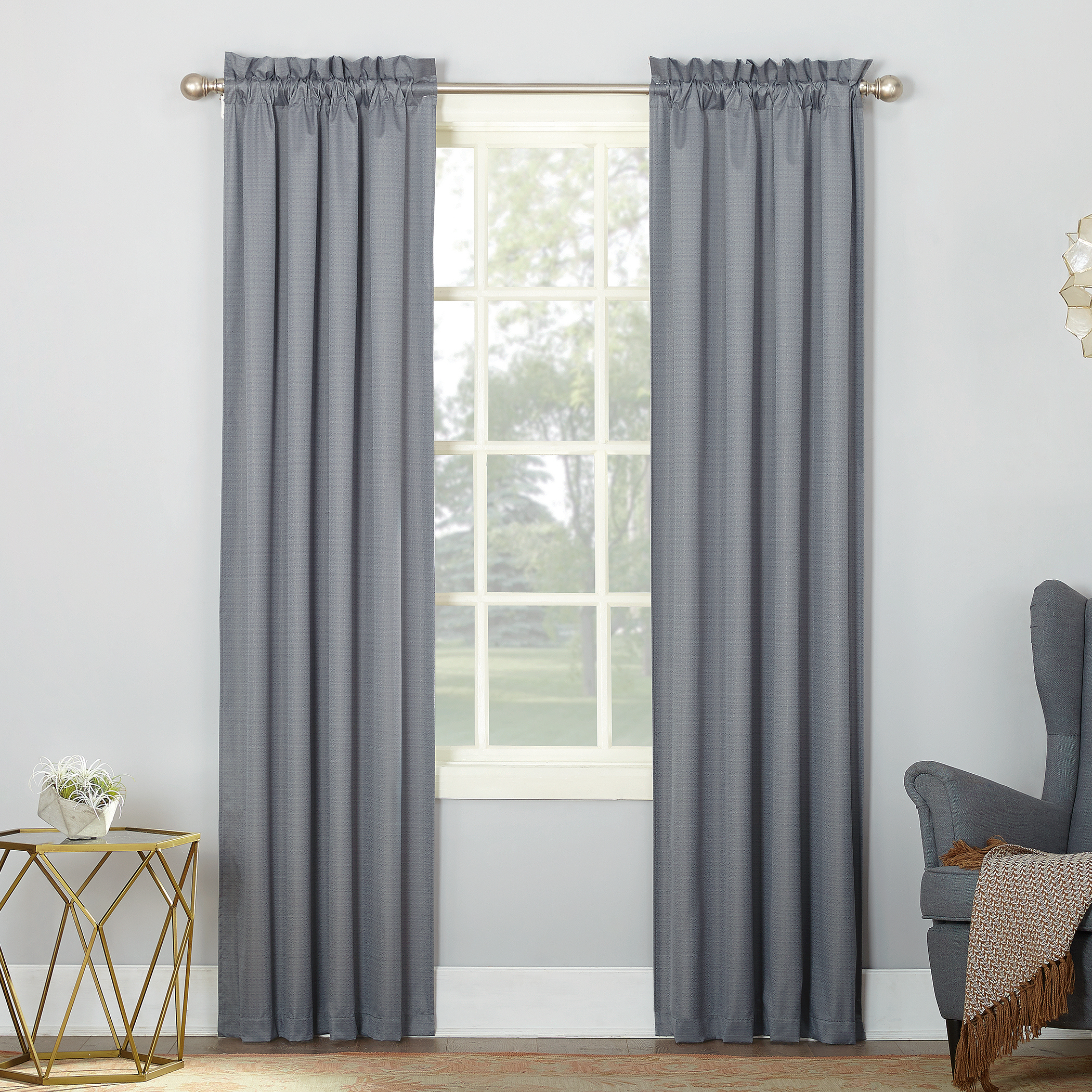 Sun Zero Riku 2 Pack Thermal Insulated Room Darkening Rod Pocket Curtain Panel Pair Walmart Com Walmart Com